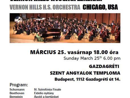 A Chicagoi Vernon Hills Középiskola Zenekarának ingyenes koncertje