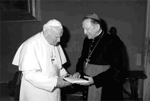 Audiencián II. János Pál pápa előtt, fotó: findagrave